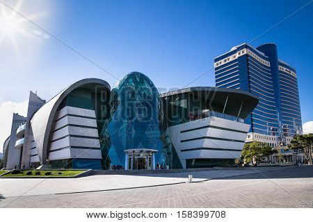 BAKU, AZERBAIJAN -OCT 3, 2016: Park Bulvar modern shopping mall in Baku on Oct 3, 2016, Azerbeijan . Futuristic architecture building in Baku with conceptual design.