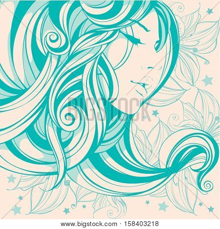 graphic drawing face girl hair long curls adorned with flowers in green tones