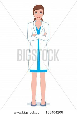 Female doctor with folded hands. Illustration of a smiling doctor woman.