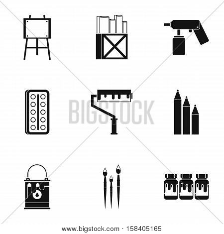 Painting icons set. Simple illustration of 9 painting vector icons for web
