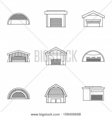 Storage icons set. Outline illustration of 9 storage vector icons for web