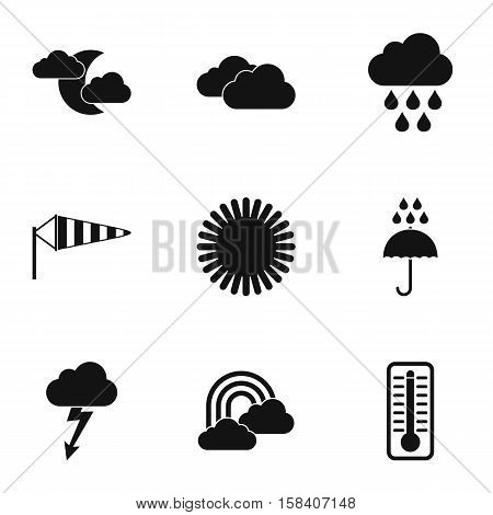 Air temperature icons set. Simple illustration of 9 air temperature vector icons for web