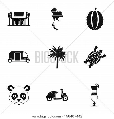 Thailand icons set. Simple illustration of 9 Thailand vector icons for web