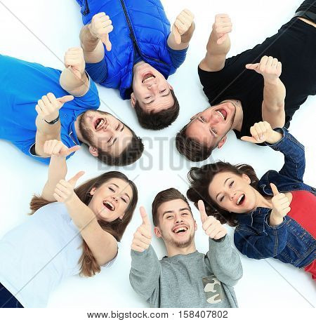 Young people lying down