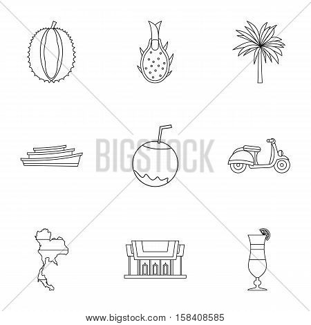 Attractions of Thailand icons set. Outline illustration of 9 attractions of Thailand vector icons for web