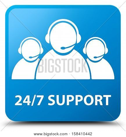 24/7 Support (customer care team icon) cyan blue square button