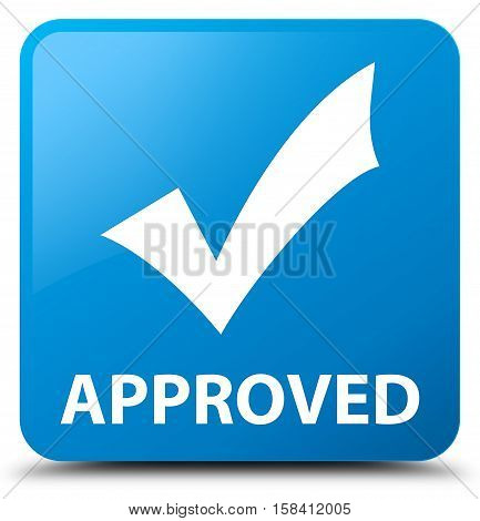 Approved (validate icon) cyan blue square button