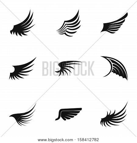 Wings icons set. Simple illustration of 9 wings vector icons for web