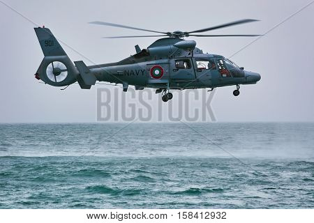 VARNA BULGARIA - November 09 2016: Eurocopter AS565 Panther during an Exercise in the Bay of the Black Sea