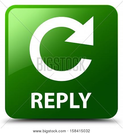 Reply (rotate Arrow Icon) Green Square Button