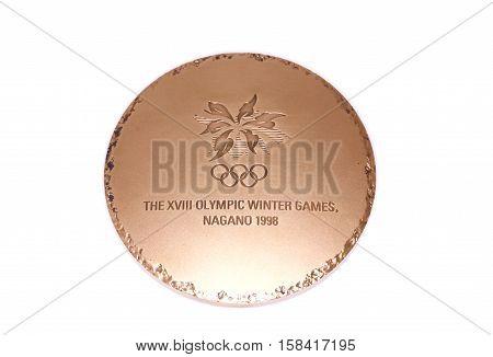 Nagano 1998 Winter Olympic Games Participation Medal, Reverse. Kouvola, Finland 06.09.2016.