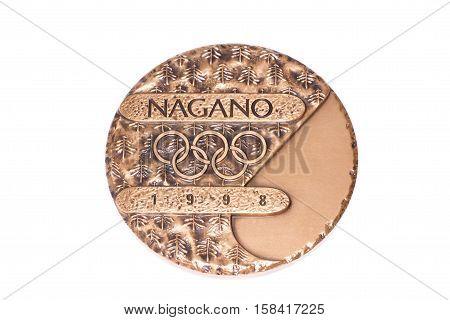Nagano 1998 Winter Olympic Games Participation Medal, Obverse. Kouvola, Finland 06.09.2016.