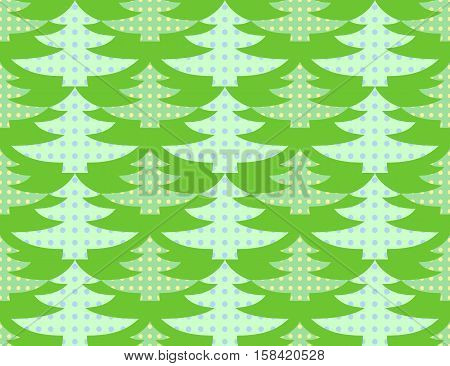 Illustration of a seamless background of stylized green Christmas trees