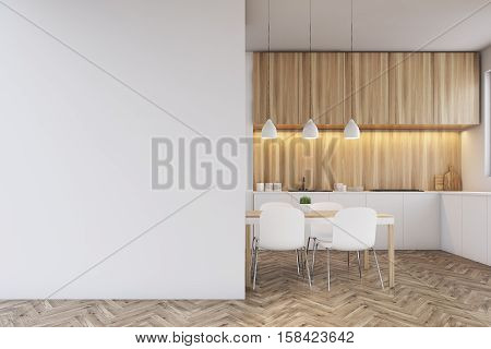 Kitchen Counter, Dining Table And A Blank Wall