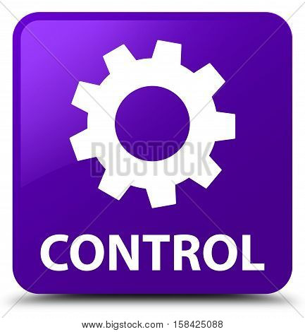 Control (settings icon) isolated on abstract purple square button
