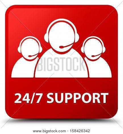 24/7 Support (customer Care Team Icon) Red Square Button