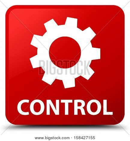 Control (settings icon) isolated on abstract red square button