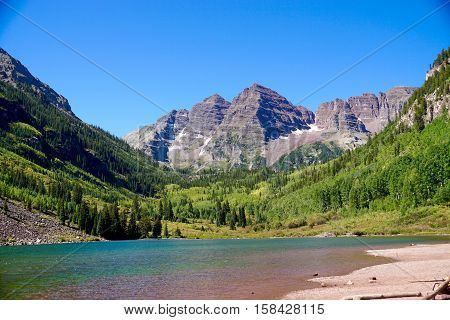 Landscape of Maroon Bells in Aspen, Colorado