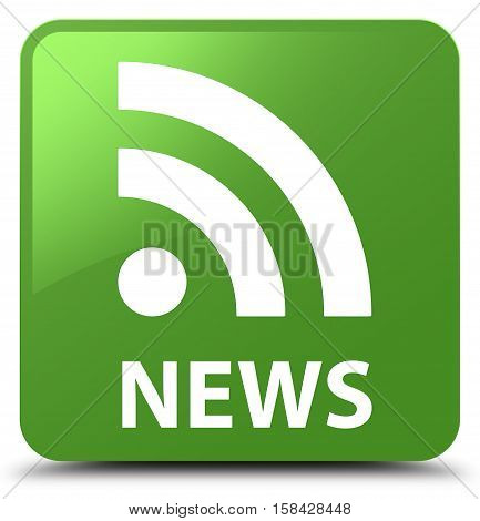 News (rss Icon) Soft Green Square Button