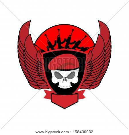 Military Emblem Skull In Beret.  Wings And Weapons. Army Logo. Soldiers Badge. Eagle And Guns. Aweso