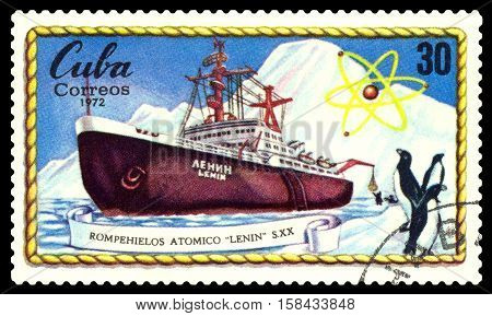 STAVROPOL RUSSIA - November 25 2016: A Stamp printed in the Cuba shows known russian Atomic Icebreakers Lenin circa 1972