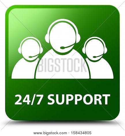 24/7 Support (customer Care Team Icon) Green Square Button
