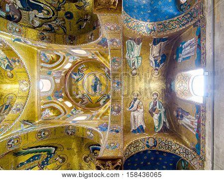 Ceiling In The Church Martorana. Palermo, Sicily, Italy.