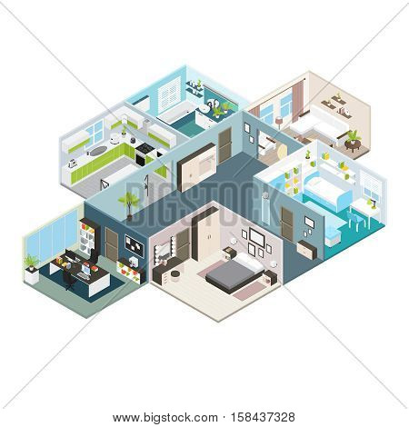 Isometric house interior view layout of residential premises with baffles and walls vector illustration