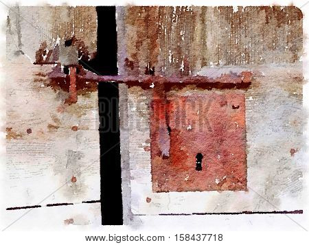 Digital watercolor painting of a rusty lock on a wooden door. A rusty sliding metal bar and a keyhole. Space for text.