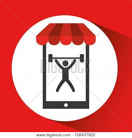 mobile phone silhouette sportman weight vector illustration eps 10