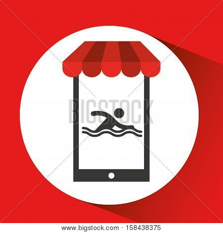 mobile phone silhouette sportman swimming vector illustration eps 10