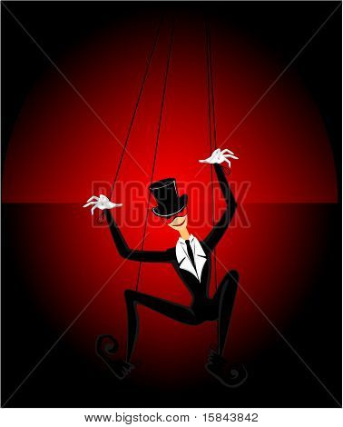 Cartoon marionette on a dark background