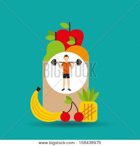 man heavy barbell exercising bag health food vector illustration eps 10