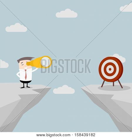 illustration of a businessman standing on a cliff with a spyglass in his hand watching the target on the other side, eps10 vector