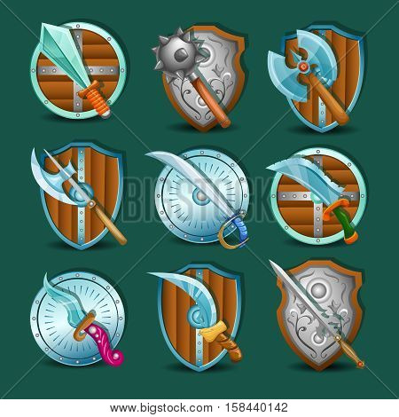 Medieval edged and strike weapon set with shields of various shape on green background isolated vector illustration