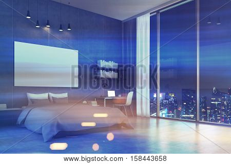 Bedroom interior with a double bed a large panoramic window and a study corner. Big horizontal poster. 3d rendering. Mock up. Toned image. Double exposure