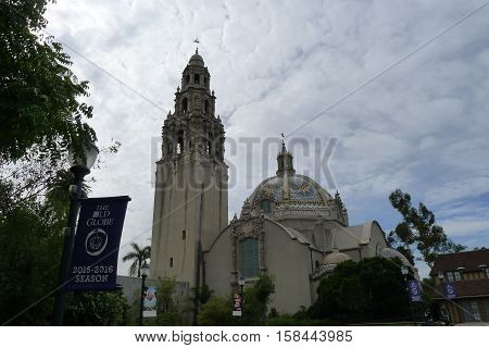 San Diego - October 28: California Tower and California Building in Balboa Park of San Diego on October 28, 2015