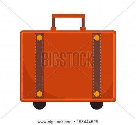 Travel Suitcase icon flat style. Classic suitcase with a handle. Luggage isolated on a white background. Vector illustration