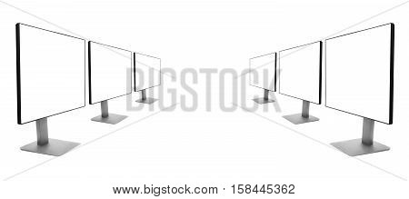 two rows of monitors receding into the distance, isolated on a white background