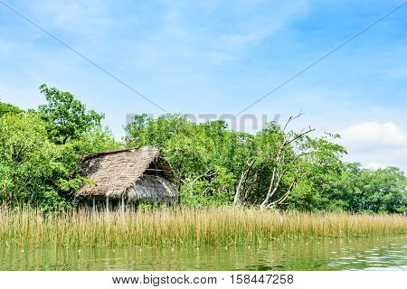 Wooden house on stilts with palm leaf roof on riverbank in Guatemala Central America