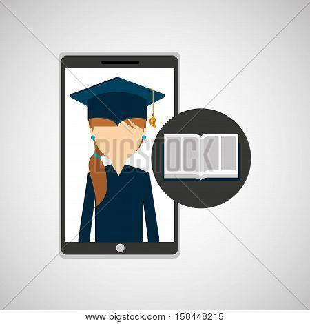 girl app education online e-learning vector illustration eps 10