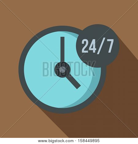 Open or served around the clock, 24 hours a day and 7 days a week icon. Flat illustration of open or served around the clock vector icon for web isolated on coffee background