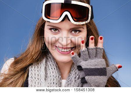 Skier Girl Wearing Warm Clothes Ski Googles Portrait.