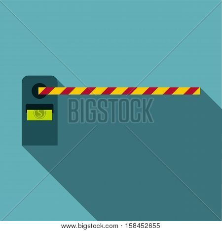 Gate in parking lot icon. Flat illustration of gate in parking lot icon for web