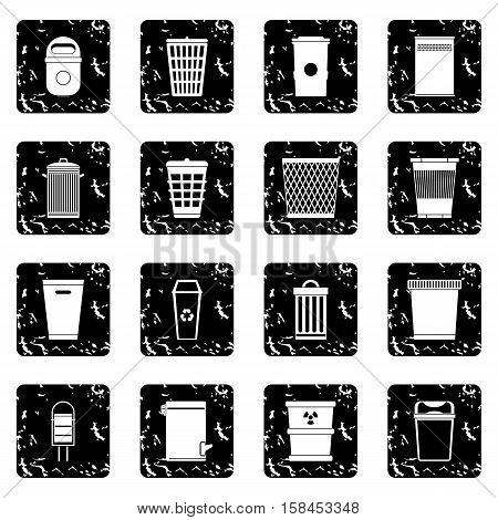 Trash can set icons in grunge style isolated on white background. Vector illustration