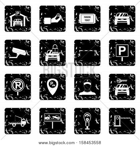 Parking set icons in grunge style isolated on white background. Vector illustration