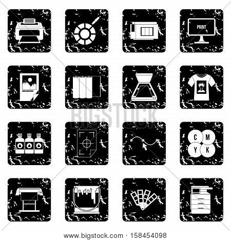 Printing set icons in grunge style isolated on white background. Vector illustration