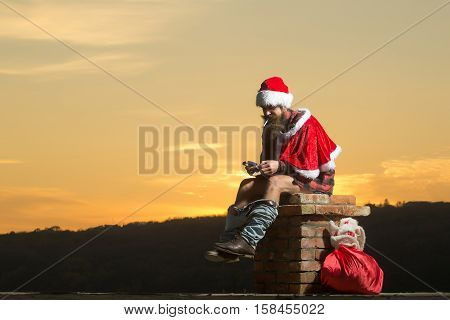 Christmas Bad Santa On Chimney