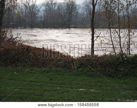 River Po Flood In Turin