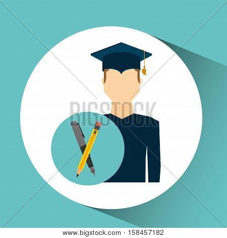 graduate student man writing vector illustration eps 10